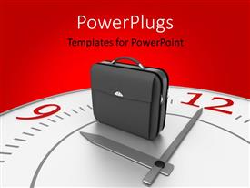 PowerPlugs: PowerPoint template with a bag with a clock and reddish background