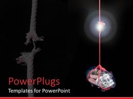 PowerPoint template displaying bag of coins and currency tied to frayed red rope on black background