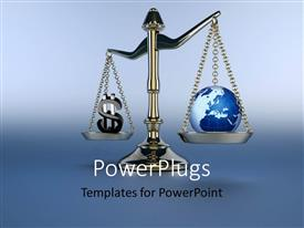 PowerPlugs: PowerPoint template with a balance with bluish background weighing Earth