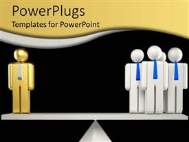 PowerPlugs: PowerPoint template with balance with golden figure on one side and four white figures on other side