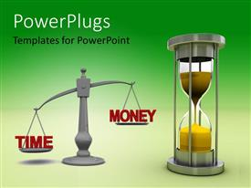 PowerPoint template displaying a balance with the hour glass and greenish background