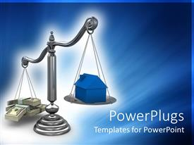 PowerPoint template displaying a balance scale with a house and a number of dollar notes