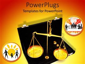 PowerPoint template displaying balance scales in briefcase weight family against work