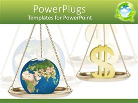 PowerPoint template displaying balance scales with globe on one side and gold dollar sign opposing