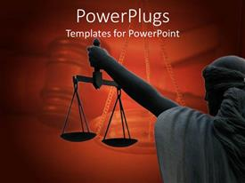 PowerPlugs: PowerPoint template with a balance showing the law and justice on maroon background