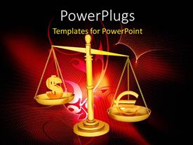 PowerPlugs: PowerPoint template with a balance sign with reddish background and place for text