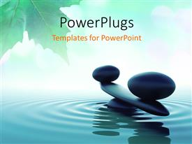PowerPlugs: PowerPoint template with balance stone in a Zen water with green leaf in background