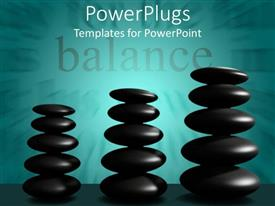 PowerPoint template displaying balance word with three stacks of black stones, cyan background