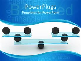 PowerPlugs: PowerPoint template with balanced financial organization depicted with black spheres balancing glass sheets