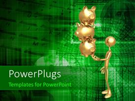PowerPlugs: PowerPoint template with balancing Golden Savings Investments Piggy Banks On Fingertip over finance background
