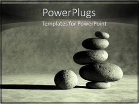 PowerPlugs: PowerPoint template with balancing stacking stones as a metaphor for center and peace in black and white