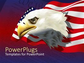 PowerPoint template displaying bald American eagle with American flag over United States constitution