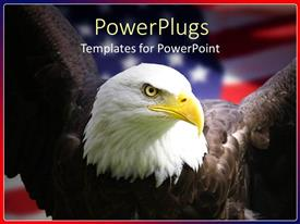 PowerPoint template displaying bald eagle staring with an american flag behind it