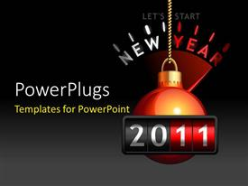 PowerPlugs: PowerPoint template with a ball with a blackish background with a place for text