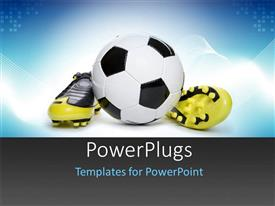 PowerPoint template displaying a ball with a pair of yellow football  boots beside it