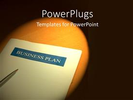 PowerPoint template displaying ball point pen on business plan sitting on wooden desk with spotlight on
