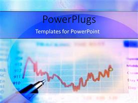 PowerPlugs: PowerPoint template with ball point pen on multi-colored Binary options chart