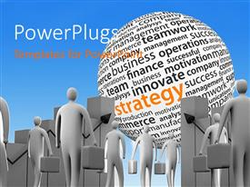 PowerPlugs: PowerPoint template with various people looking towards a giant ball