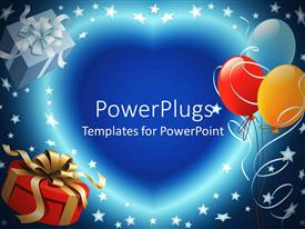 PowerPlugs: PowerPoint template with balloon decoration and gift box with love symbol and stars for party