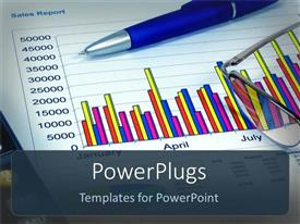 PowerPlugs: PowerPoint template with a ballpoint with a graph in the background
