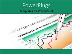 PowerPlugs: PowerPoint template with ballpoint pen over financial document with colored line charts