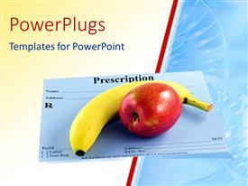 PowerPlugs: PowerPoint template with banana and apple over doctors prescription card