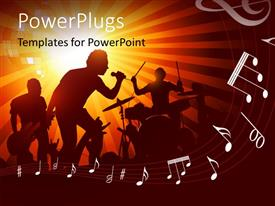 PowerPlugs: PowerPoint template with band playing music with drums, guitar to a crowd of fans with music symbols in foreground