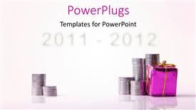 PowerPoint template displaying a number of coins with a gift hamper