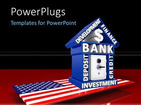 PowerPoint template displaying uS banking concept with house made up of financial keywords placed over an American map