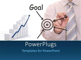 PowerPlugs: PowerPoint template with bar chart with business man drawing business plan