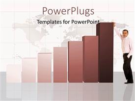 PowerPoint template displaying bar chart with business man over world map in background