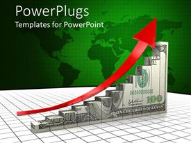 PowerPlugs: PowerPoint template with bar chart colored with dollar bills with a red arrow