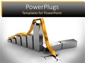 PowerPlugs: PowerPoint template with bar chart crashing depicting financial crisis with golden arrow piercing white surface
