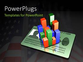 PowerPlugs: PowerPoint template with a bar chart cube on a personal identity card