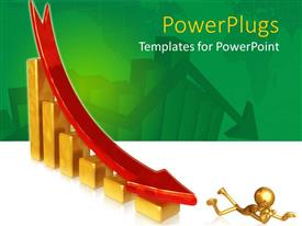 PowerPlugs: PowerPoint template with bar chart with falling red arrow knocks over gold figure