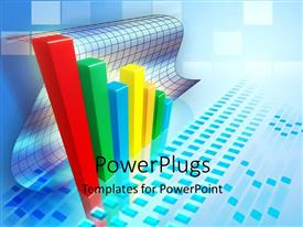 PowerPlugs: PowerPoint template with bar chart indicating a positive business trend with blue color