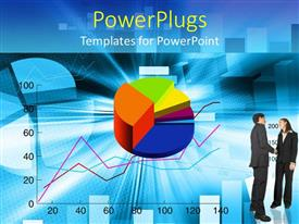 PowerPlugs: PowerPoint template with bar chart, line graph, pie graph, man and woman shaking hands