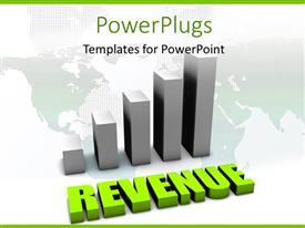 PowerPlugs: PowerPoint template with bar chart over world map with green rendering of text REVENUE