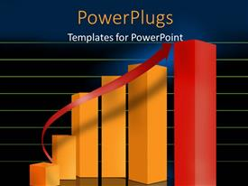 PowerPlugs: PowerPoint template with bar chart and red arrow over green horizontal lines in blue background