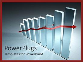 PowerPlugs: PowerPoint template with bar chart with red line across signifying increase