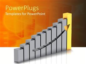 PowerPoint template displaying bar chart showing increase in value with arrow moving upwards