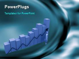 PowerPlugs: PowerPoint template with a bar chart with a text that spell out the word 'business'