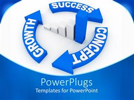 PowerPlugs: PowerPoint template with a bar chart and three curved arrows with text that spell out some words