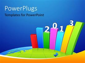 PowerPlugs: PowerPoint template with bar graph showing business growth for year 2013
