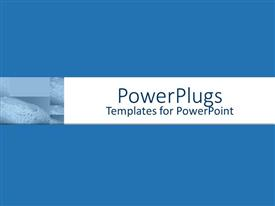 PowerPlugs: PowerPoint template with bar of soap with suds beside white banner with blue background, hygiene, sanitation, bathroom