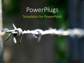 PowerPoint template displaying a barbed wire with blurred background