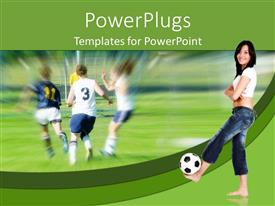 PowerPoint template displaying barefoot woman with soccer ball against background of game in progress