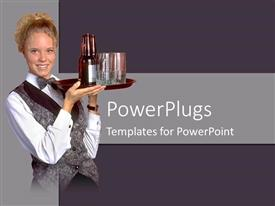 PowerPoint template displaying bartender cocktail waitress with tray, bottles and glasses, hospitality, restaurant