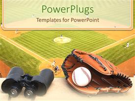 PowerPlugs: PowerPoint template with base ball pitch, brown gloves and a pair of binoculars