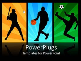 PowerPlugs: PowerPoint template with baseball, basketball, and soccer players in action
